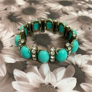 J. Crew Turquoise & Antique Gold Stretchy Bracelet